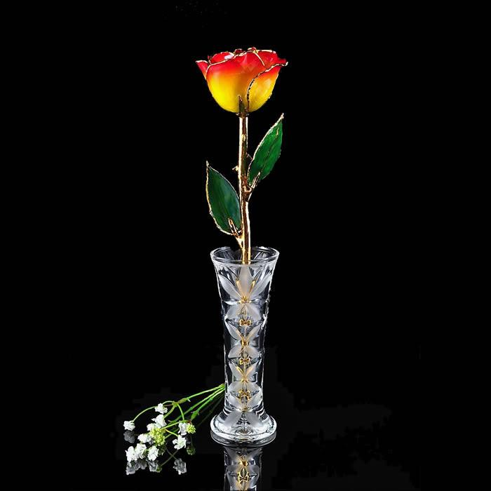 24K Gold Trimmed Yellow Red Tip Rose with Crystal Vase-The Rose Lady-Top Notch Gift Shop