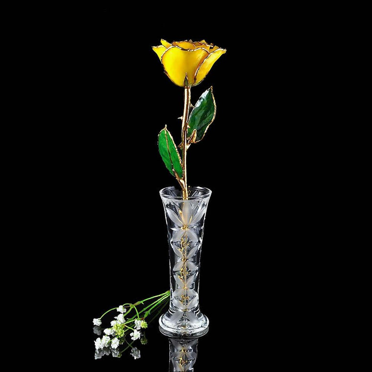 24K Gold Trimmed Yellow Rose with Crystal Vase-The Rose Lady-Top Notch Gift Shop