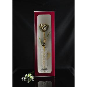 24K Gold Trimmed Zebra Rose with Crystal Vase-Gold Trimmed Rose-The Rose Lady-Top Notch Gift Shop
