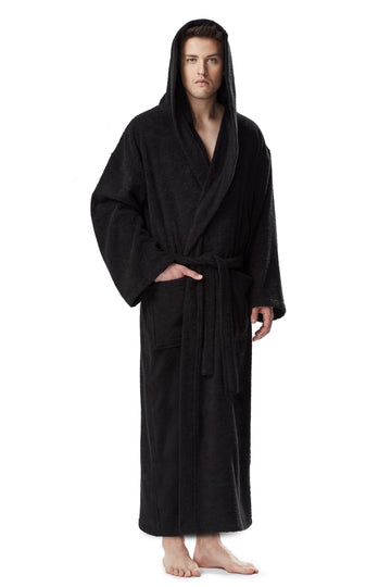 Men's Full Length Hooded Terrycloth Bathrobe