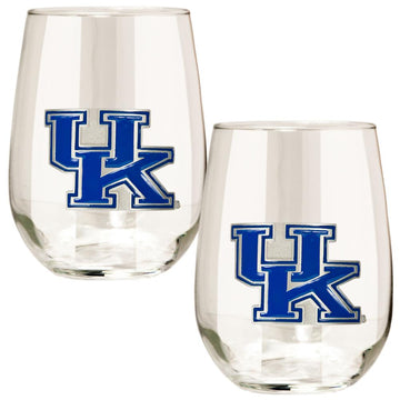 Kentucky Wildcats 15 oz. Stemless Wine Glass - (Set of 2)