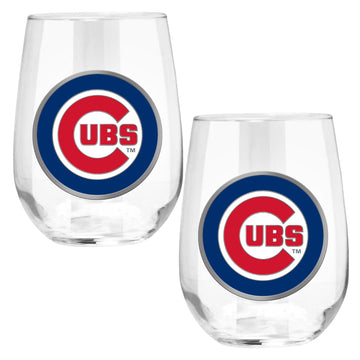 Chicago Cubs 15 oz. Stemless Wine Glass - (Set of 2)