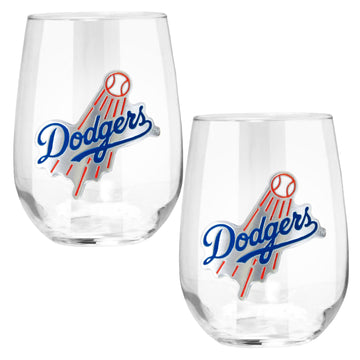 Los Angeles Dodgers 15 oz. Stemless Wine Glass - (Set of 2)