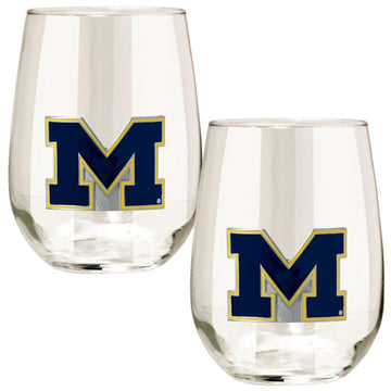 Michigan Wolverines Stemless Wine Glass - (Set of 2)