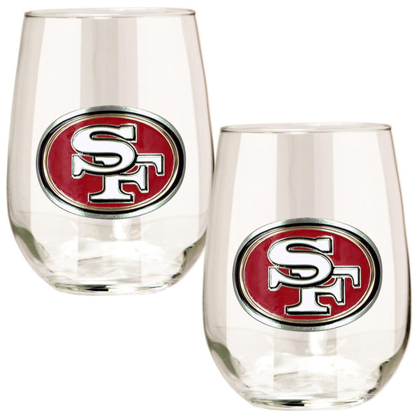 San Francisco 49ers 15 oz. Stemless Wine Glass - (Set of 2)-Stemless Wine Glass-Great American Products-Top Notch Gift Shop