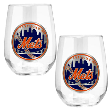 New York Mets 15 oz. Stemless Wine Glass - (Set of 2)