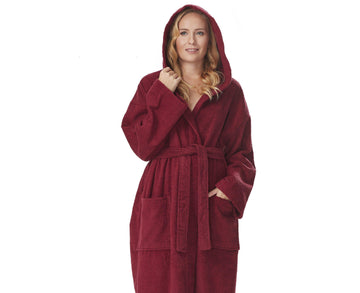 Women's Ultra Hooded Full Length Terrycloth Bathrobe