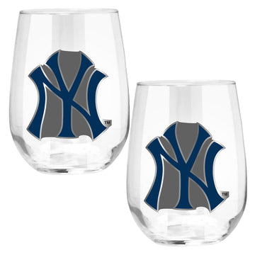 New York Yankees 15 oz. Stemless Wine Glass - (Set of 2)