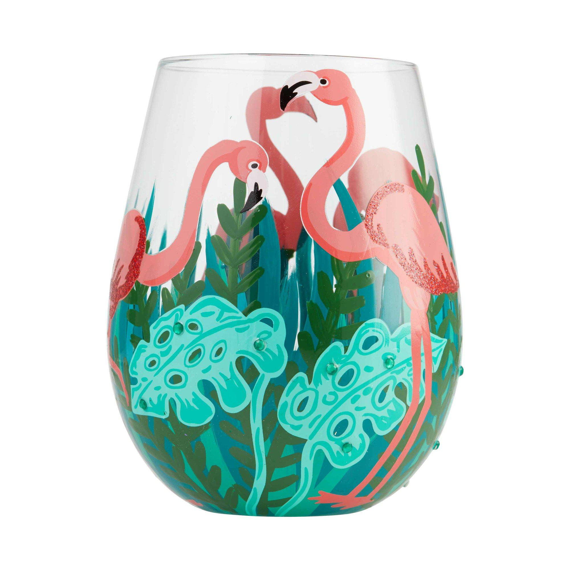 Fancy Flamingo Stemless Wine Glass by Lolita®-Stemless Wine Glass-Designs by Lolita® (Enesco)-Top Notch Gift Shop