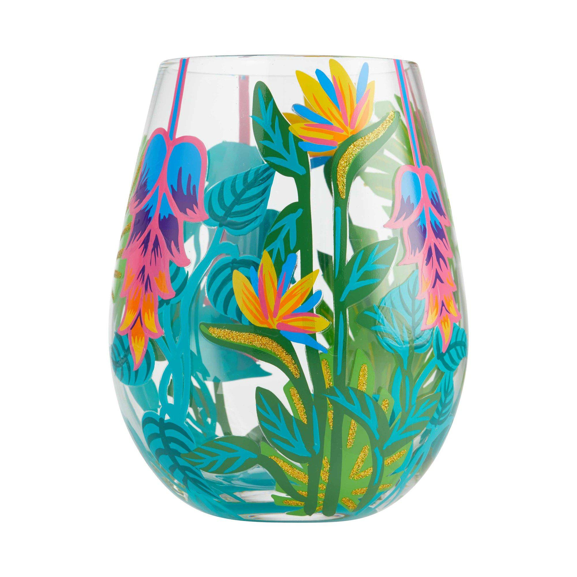 Tropical Vibes Stemless Wine Glass by Lolita®-Stemless Wine Glass-Designs by Lolita® (Enesco)-Top Notch Gift Shop
