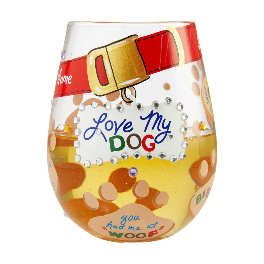Love My Dog Stemless Wine Glass by Lolita®-Stemless Wine Glass-Designs by Lolita® (Enesco)-Top Notch Gift Shop