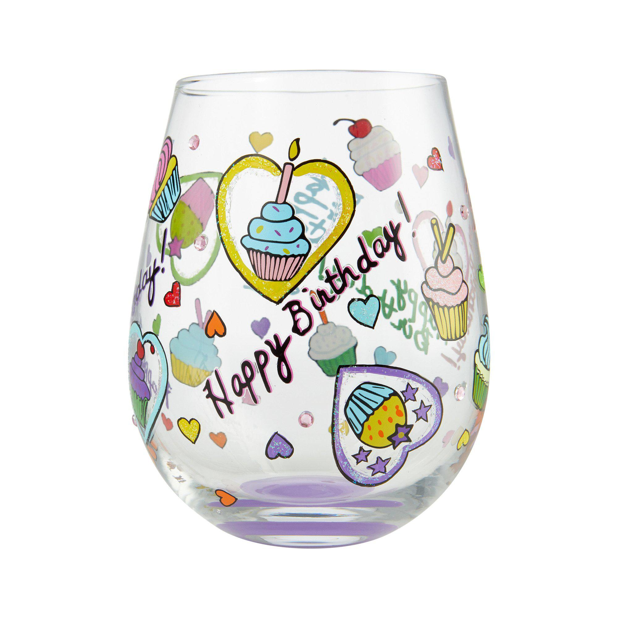 Birthday Cupcakes Stemless Wine Glass by Lolita®-Stemless Wine Glass-Designs by Lolita® (Enesco)-Top Notch Gift Shop
