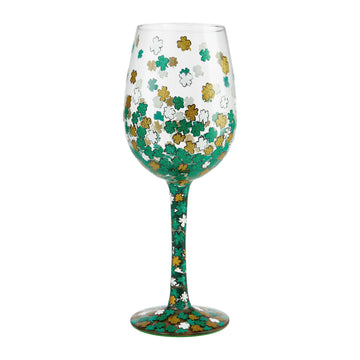 Shamrock Hand Painted St. Patrick's Day Wine Glass by Lolita®
