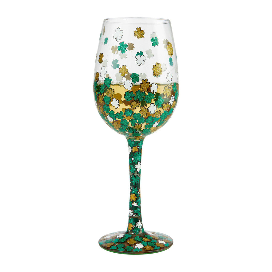 Shamrock Hand Painted St. Patrick's Day Wine Glass by Lolita®-Wine Glass-Designs by Lolita® (Enesco)-Top Notch Gift Shop