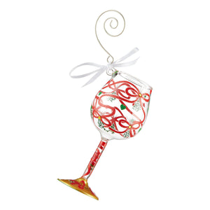 Meet Me Under the Mistletoe Mini Wine Glass Ornament by Lolita®-Ornament-Designs by Lolita® (Enesco)-Top Notch Gift Shop