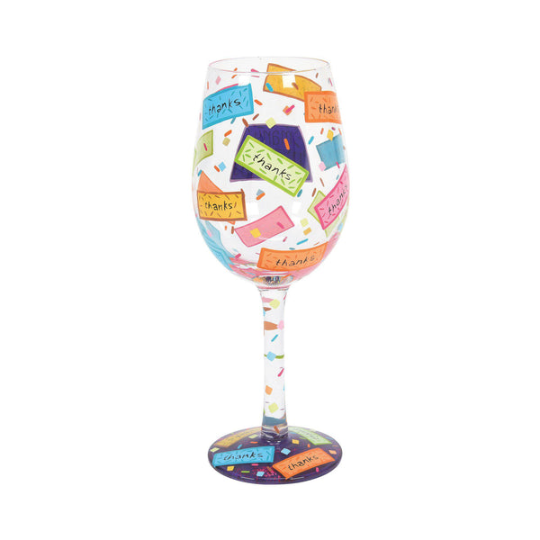 Many Thanks Wine Glass by Lolita®-Wine Glass-Designs by Lolita® (Enesco)-Top Notch Gift Shop
