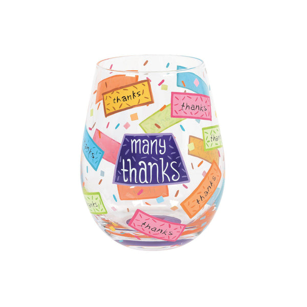 Many Thanks Stemless Wine Glass by Lolita®-Stemless Wine Glass-Designs by Lolita® (Enesco)-Top Notch Gift Shop