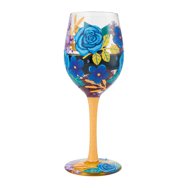 Blue Florals Wine Glass by Lolita®-Wine Glass-Designs by Lolita® (Enesco)-Top Notch Gift Shop