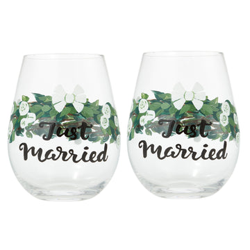 Just Married Stemless Wine Glass by Lolita® - Set of 2