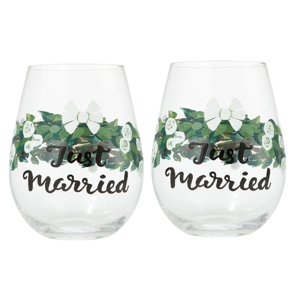 Just Married Stemless Wine Glass by Lolita® - Set of 2-Stemless Wine Glass-Designs by Lolita® (Enesco)-Top Notch Gift Shop