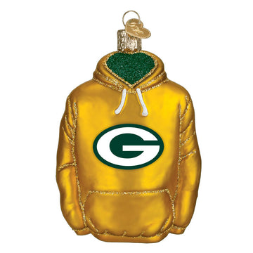 Green Bay Packers Glass Hoodie Christmas Ornament
