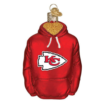 Kansas City Chiefs Glass Hoodie Christmas Ornament