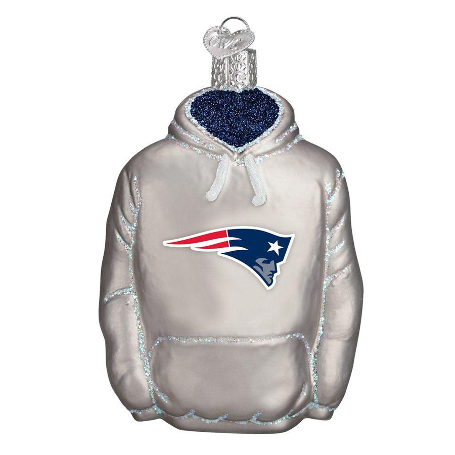 New England Patriots Hand Blown Glass Hoodie Ornament-Ornament-Old World Christmas-Top Notch Gift Shop