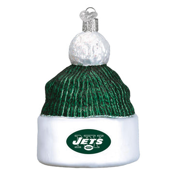 New York Jets Glass Beanie Christmas Ornament