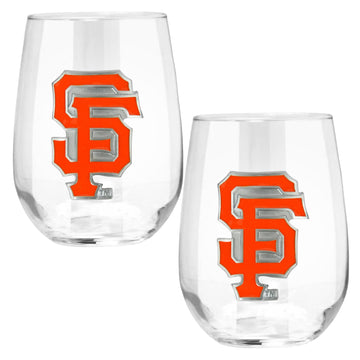 San Francisco Giants 15 oz. Stemless Wine Glass - (Set of 2)