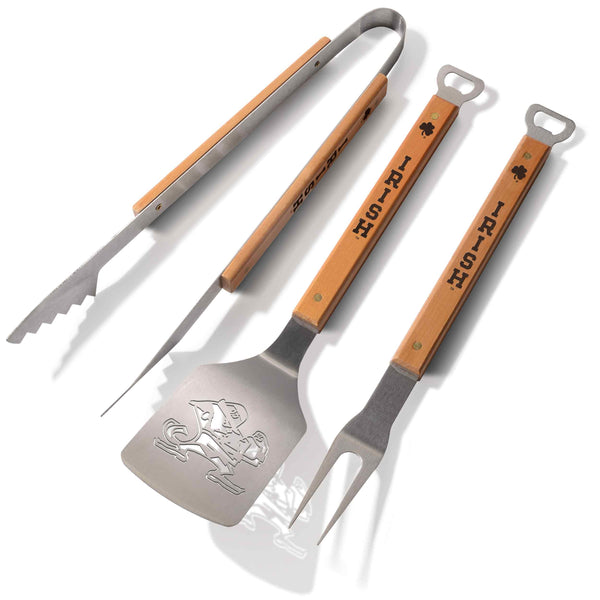 University of Notre Dame 3 Piece Sportula® BBQ Tool Set-Barbeque Tool-You The Fan-Top Notch Gift Shop