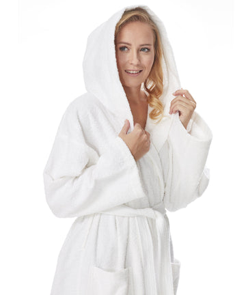 Womens Organic Cotton Hooded Full Length Bathrobe