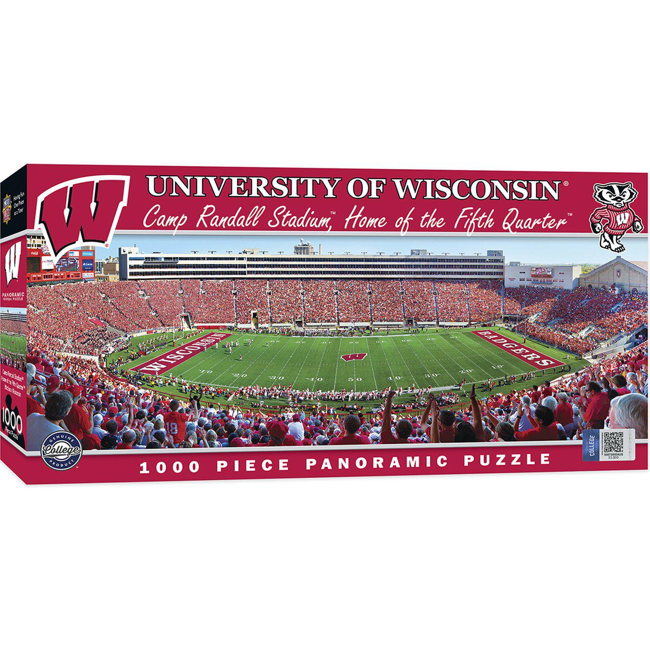 Wisconsin Badgers 1000 Piece Panoramic Stadium Jigsaw Puzzle-Puzzle-MasterPieces Puzzle Company-Top Notch Gift Shop