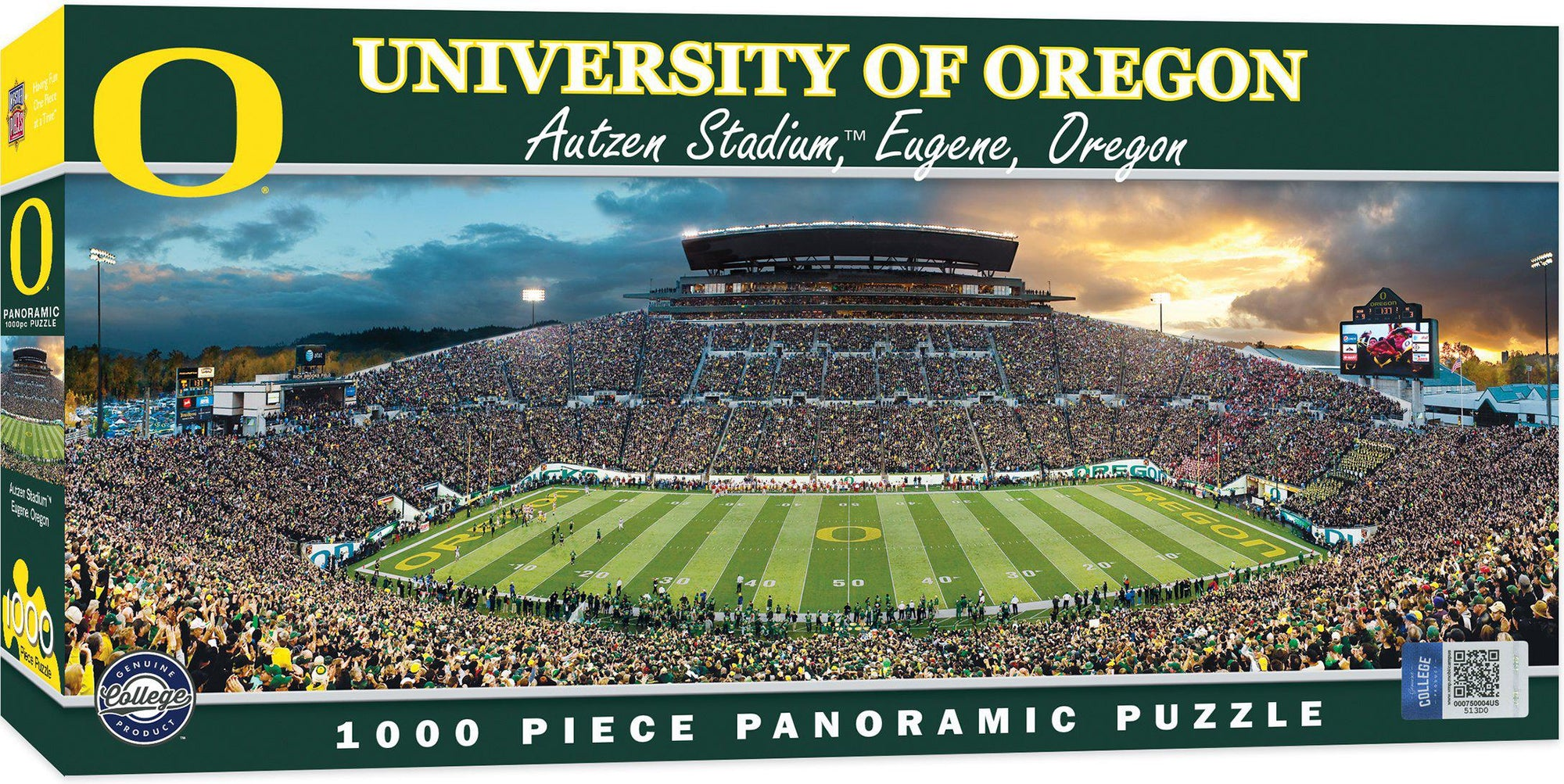 Oregon Ducks Panoramic Stadium 1000 Piece Jigsaw Puzzle-Puzzle-MasterPieces Puzzle Company-Top Notch Gift Shop