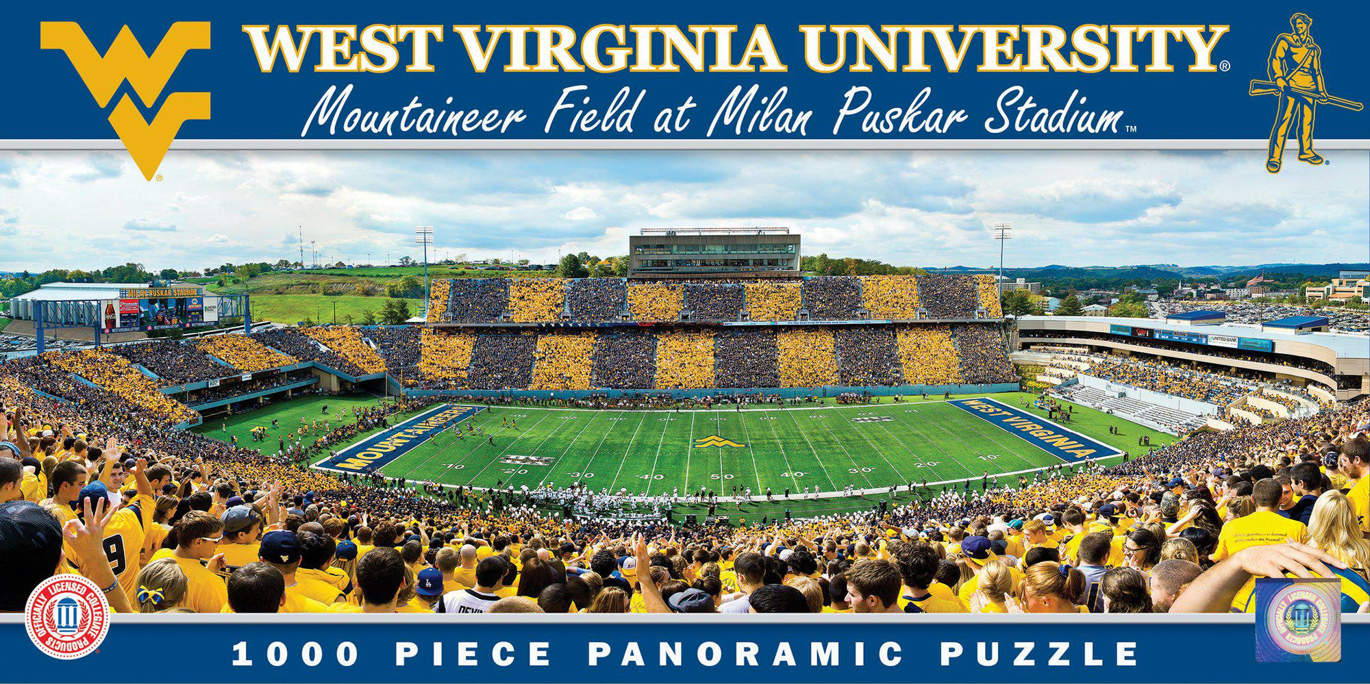 West Virginia Mountaineers 1000 Piece Panoramic Stadium Jigsaw Puzzle-Puzzle-MasterPieces Puzzle Company-Top Notch Gift Shop