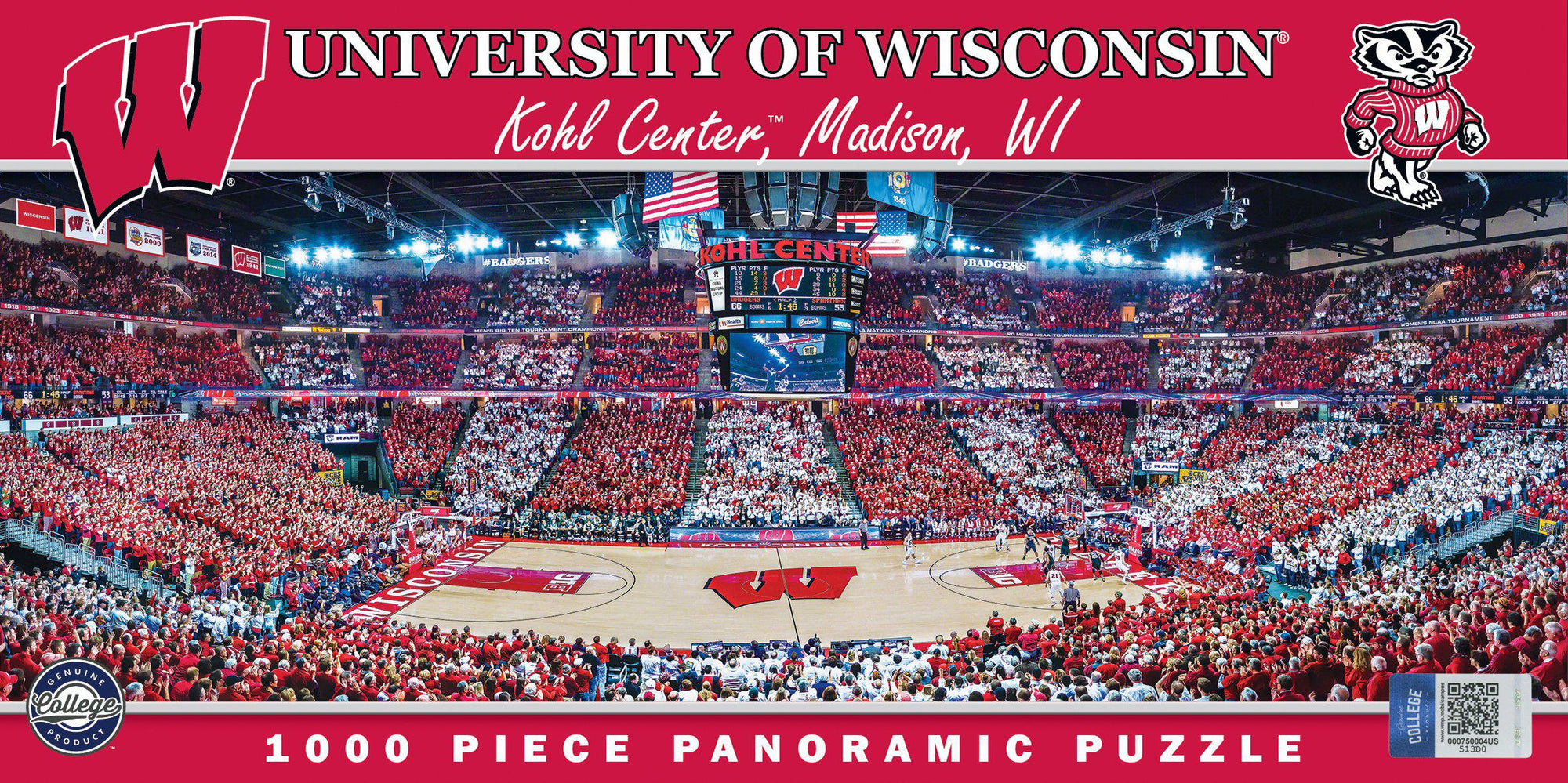 Wisconsin Badgers Basketball Arena 1000 Piece Panoramic Jigsaw Puzzle-Puzzle-MasterPieces Puzzle Company-Top Notch Gift Shop