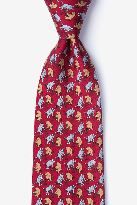 Stock Market Playground 100% Silk Men's Tie-Necktie-Alynn-Top Notch Gift Shop