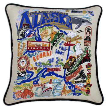 Alaska Embroidered Catstudio State Pillow