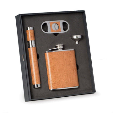 Leather Flask, Cigar Case and Cutter 4 Piece Set.