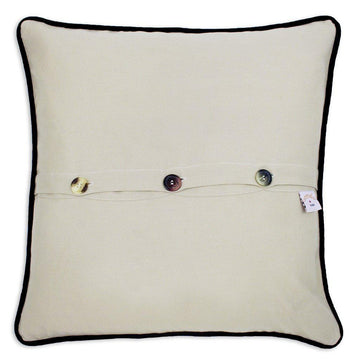 Door County Hand Embroidered Catstudio Pillow