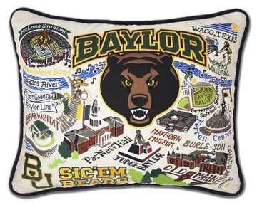 Baylor University  Embroidered Catstudio Pillow