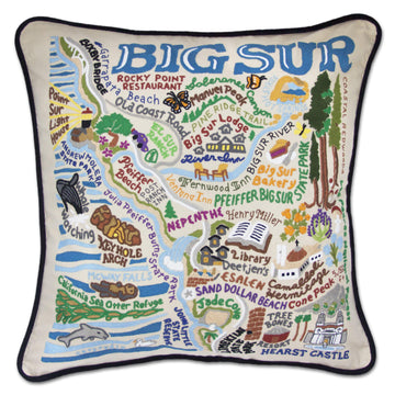 Big Sur Embroidered Catstudio Pillow