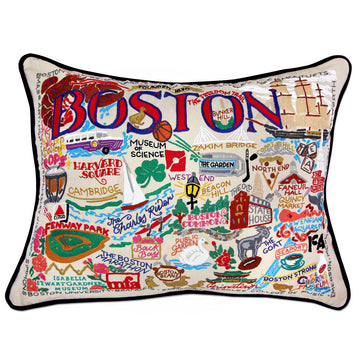 Boston Embroidered Catstudio Pillow