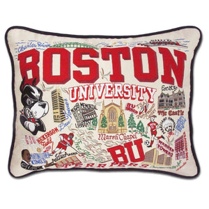 Boston University Embroidered CatStudio Pillow-Pillow-CatStudio-Top Notch Gift Shop