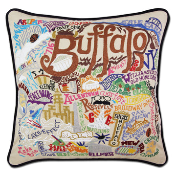 Buffalo Embroidered Catstudio Pillow