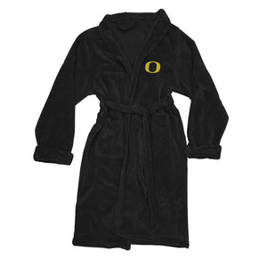 Oregon Ducks Men's Silk Touch Plush Bath Robe - Black-Bathrobe-Northwest-Top Notch Gift Shop