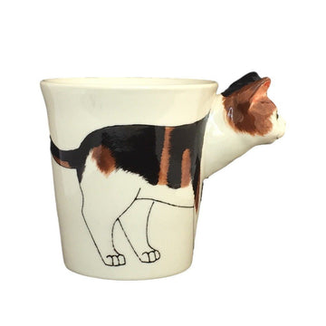 Calico Cat Hand Painted Coffee Mug