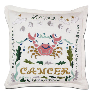 Cancer Astrology Hand-Embroidered Pillow