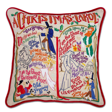 Christmas Carol Embroidered Catstudio Pillow
