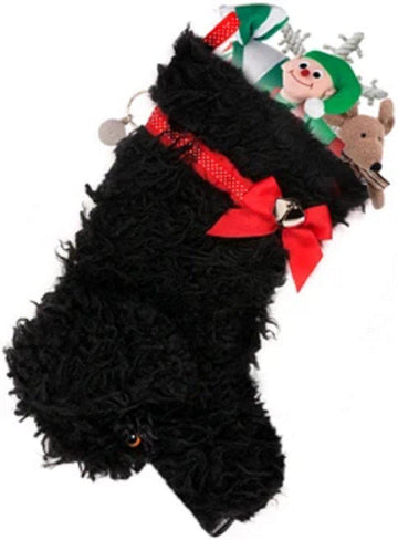 """Curly"" Black Dog Christmas Stocking"