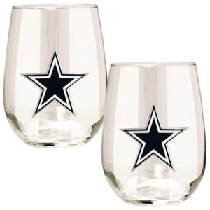 Dallas Cowboys Stemless Wine Glass - (Set of 2)-Stemless Wine Glass-Great American Products-Top Notch Gift Shop